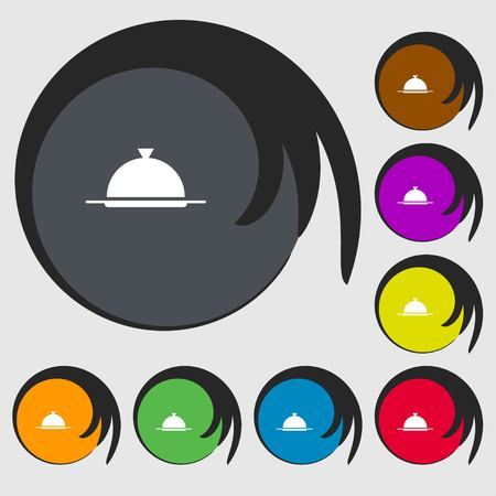 table setting: Food platter serving sign icon. Table setting in restaurant symbol. Symbols on eight colored buttons. illustration Stock Photo