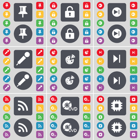 skip: Pin, Lock, Media skip, Microhpone, Pizza, Media skip, RSS, DVD, Processor icon symbol. A large set of flat, colored buttons for your design. illustration