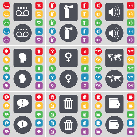 fire extinguisher symbol: Cassette, Fire extinguisher, Sound, Silhouette, Globe, Chat bubble, Trash can, Wallet icon symbol. A large set of flat, colored buttons for your design. illustration