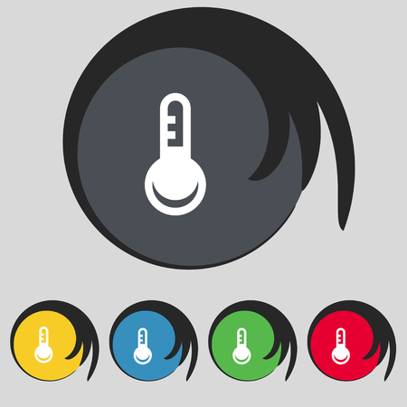 hotness: Thermometer, Temperature icon sign. Symbol on five colored buttons. illustration