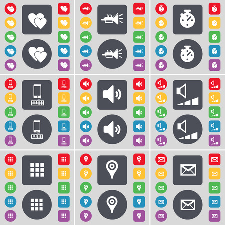 checkpoint: Heart, Trumped, Stopwatch, Smartphone, Sound, Volume, Apps, Checkpoint, Message icon symbol. A large set of flat, colored buttons for your design. illustration