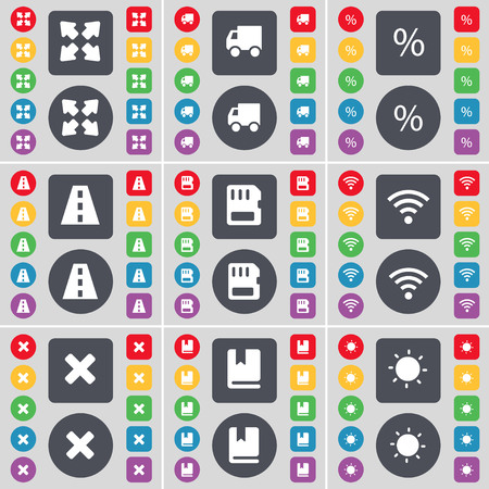 full screen: Full screen, Truck, Percent, Road, SIM card, Wi-Fi, Stop, Dictionary, Light icon symbol. A large set of flat, colored buttons for your design. illustration Stock Photo