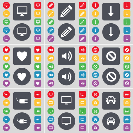 heart monitor: Monitor, Pencil, Arrow down, Heart, Sound, Stop, Socket, Monitor, Car icon symbol. A large set of flat, colored buttons for your design. illustration
