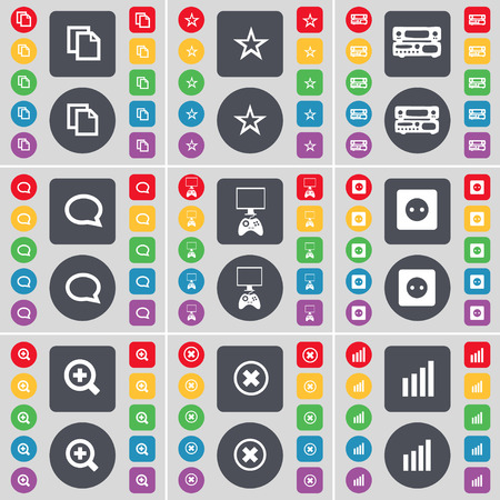 game console: Copy, Star, Record-player, Chat bubble, Game console, Socket, Magnifying glass, Stop, Diagram icon symbol. A large set of flat, colored buttons for your design. illustration