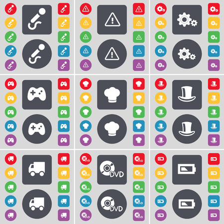 silk hat: Microphone, Warning, Gear, Gamepad, Cooking hat, Silk hat, Truck, DVD, Battery icon symbol. A large set of flat, colored buttons for your design. illustration