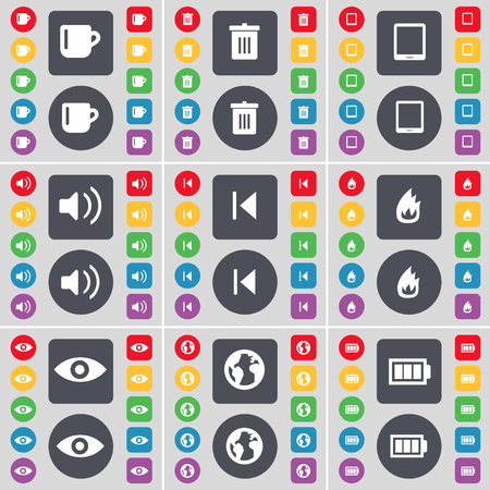 skip: Cup, Trash can, Tablet PC, Sound, Media skip, Fire, Vision, Earth, Battery icon symbol. A large set of flat, colored buttons for your design. illustration