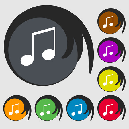 eight note: musical note, music, ringtone icon sign. Symbol on eight colored buttons. illustration Stock Photo