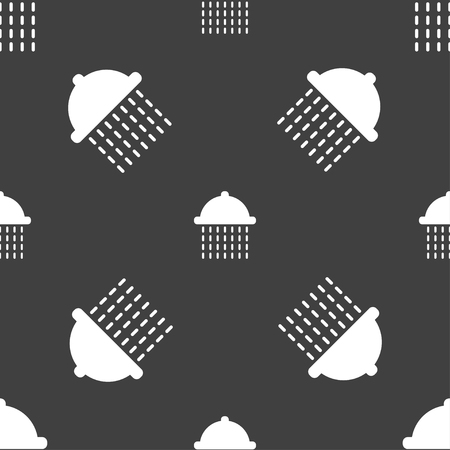 rinse: shower icon sign. Seamless pattern on a gray background. illustration