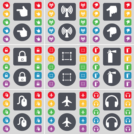 fire extinguisher symbol: Hand, Wi-Fi, Hand, Lock, Frame, Fire extinguisher, Mouse, Airplane, Headphones icon symbol. A large set of flat, colored buttons for your design. illustration Stock Photo