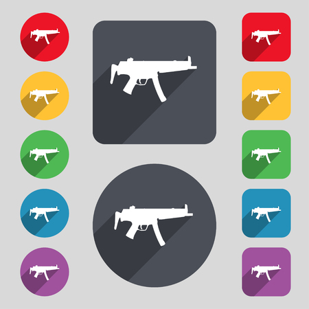 large group of object: machine gun icon sign. A set of 12 colored buttons and a long shadow. Flat design. illustration