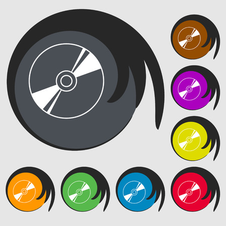 blueray: Cd, DVD, compact disk, blue ray icon sign. Symbol on eight colored buttons. illustration