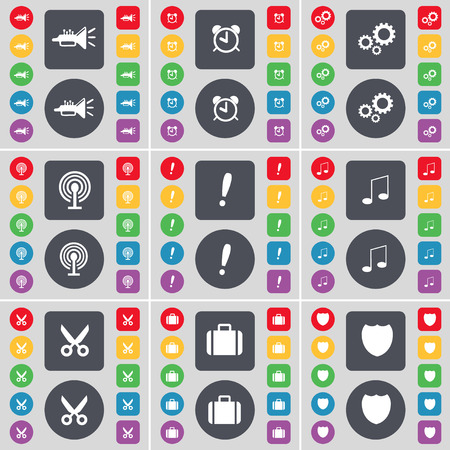 note of exclamation: Trumped, Alarm clock, Gear, Wi-Fi, Exclamation mark, Note, Scissors, Suitcase, Badge icon symbol. A large set of flat, colored buttons for your design. illustration