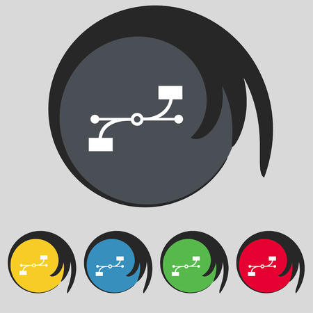 bezier: Bezier Curve icon sign. Symbol on five colored buttons. illustration