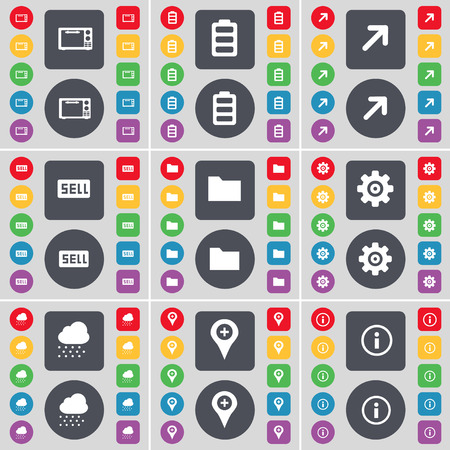 full screen: Microwave, Battery, Full screen, Sell, Folder, Gear, Cloud, Checkpoint, Information icon symbol. A large set of flat, colored buttons for your design. illustration Stock Photo