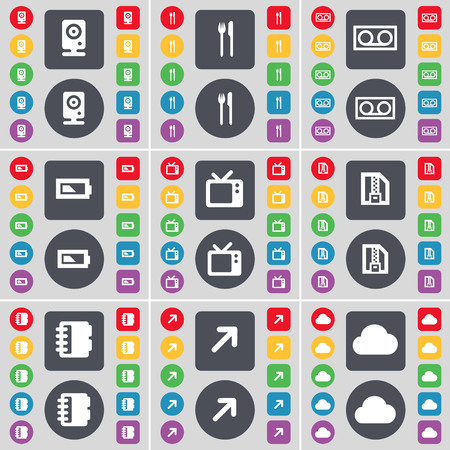 flat screen tv: Speaker, Fork and knife, Cassette, Battery, Retro TV, ZIP file, Notebook, Full screen, Cloud icon symbol. A large set of flat, colored buttons for your design. illustration