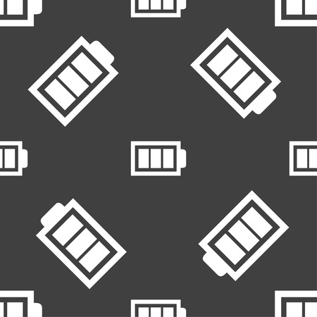 fully: Battery fully charged sign icon. Electricity symbol. Seamless pattern on a gray background. illustration Stock Photo