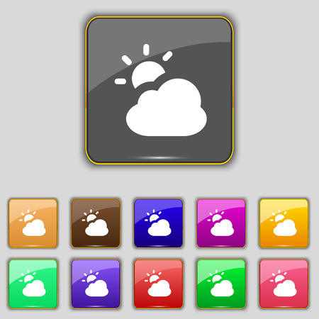 widget: weather icon sign. Set with eleven colored buttons for your site. illustration Stock Photo