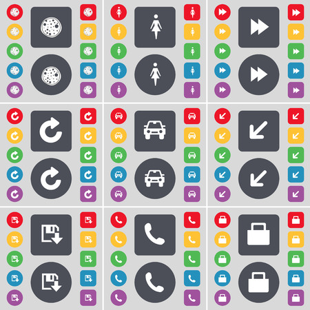 car lock: Pizza, Silhouette, Rewind, Reload, Car, Deploying screen, Floppy, Receiver, Lock icon symbol. A large set of flat, colored buttons for your design. illustration