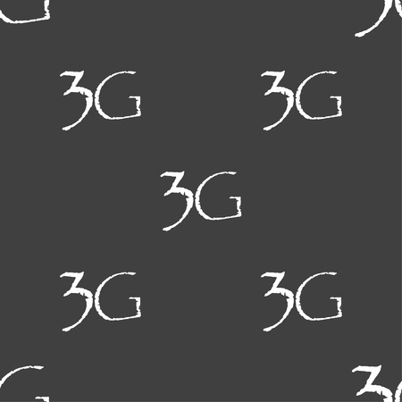 telephony: 3G sign icon. Mobile telecommunications technology symbol. Seamless pattern on a gray background. illustration Stock Photo