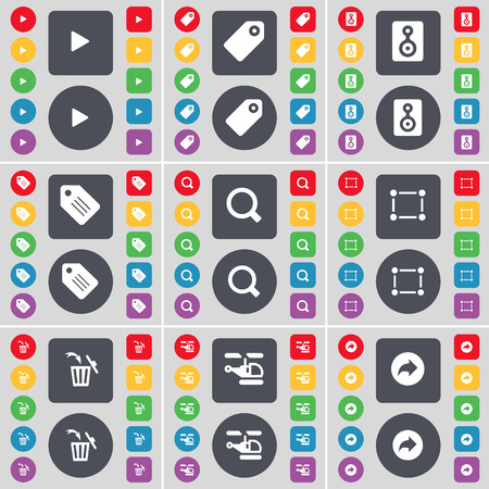 skip: Media skip, Tag, Speaker, Magnifying glass, Frame, Trash can, Helicopter, Back icon symbol. A large set of flat, colored buttons for your design. illustration