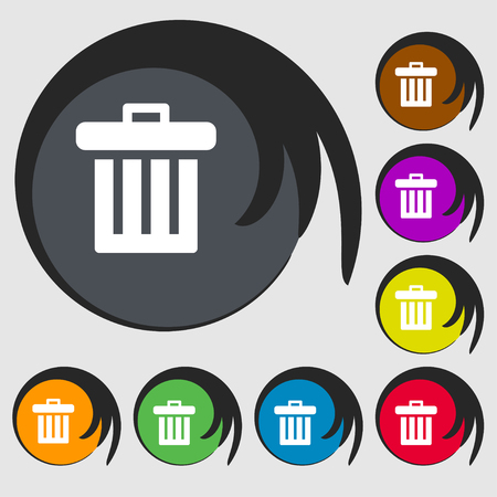 garbage tank: Recycle bin icon sign. Symbol on eight colored buttons. illustration