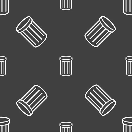 utilization: Recycle bin sign icon. Symbol. Seamless pattern on a gray background. illustration