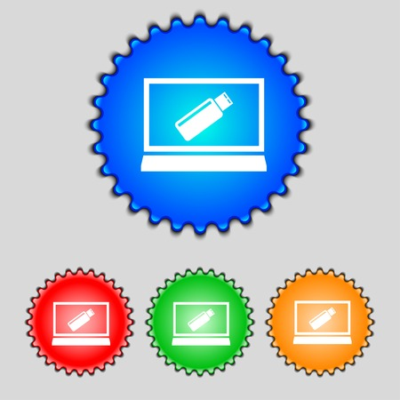 game drive: usb flash drive and monitor sign icon. Video game symbol. Set colourful buttons. illustration Stock Photo