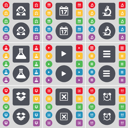 dropbox: Avatar, Calendar, Microscope, Flask, Media play, Apps, Dropbox, Stop, Alarm clock icon symbol. A large set of flat, colored buttons for your design. illustration Stock Photo