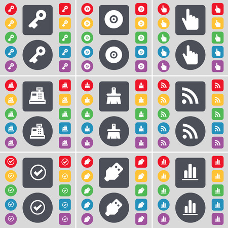 usb disk: Key, Disk, Hand, Cash register, Brush, RSS, Tick, USB, Diagram icon symbol. A large set of flat, colored buttons for your design. illustration