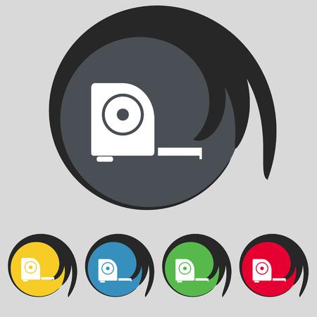 cintas metricas: la construcci�n de la ruleta icono de la muestra. S�mbolo en cinco botones de colores. ilustraci�n