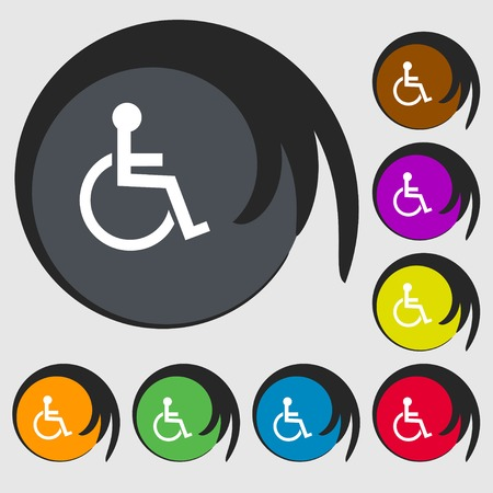 handicapped: Disabled sign icon. Human on wheelchair symbol. Handicapped invalid sign. Symbols on eight colored buttons. illustration Stock Photo