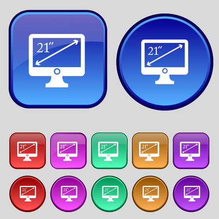 inches: diagonal of the monitor 21 inches icon sign. A set of twelve vintage buttons for your design. illustration