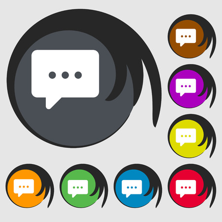 halfone: Cloud of thoughts icon sign. Symbol on eight colored buttons. illustration