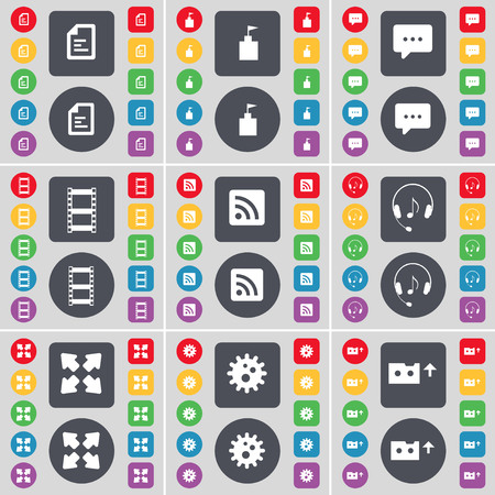 full screen: Text file, Flag tower, Chat bubble, Negative films, RSS, Headphones, Full screen, Gear, Cassette icon symbol. A large set of flat, colored buttons for your design. illustration Stock Photo