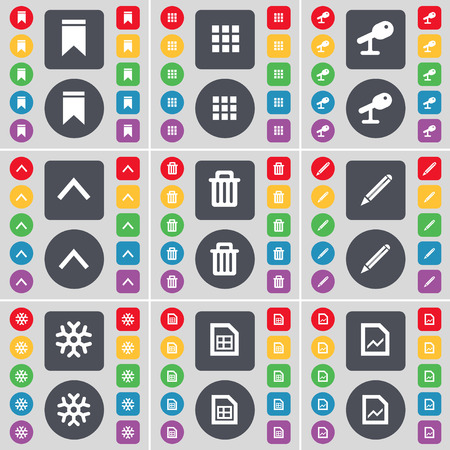 up marker: Marker, Apps, Microphone, Arrow up, Trash can, Pencil, Snowflake, Graph file icon symbol. A large set of flat, colored buttons for your design. illustration