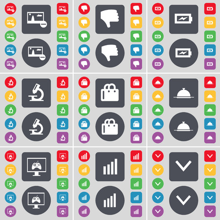 arrow down icon: Picture, Dislike, Charging, Microscope, Shopping bag, Tray, Monitor, Diagram, Arrow down icon symbol. A large set of flat, colored buttons for your design. illustration Stock Photo