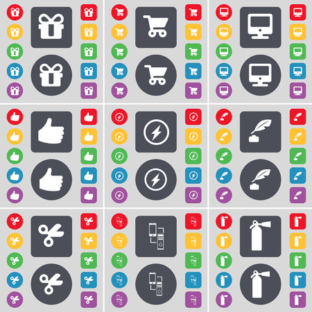 ink pot: Gift, Shopping cart, Monitor, Like, Flash, Ink pot, Scissors, Connection, Fire extinguisher icon symbol. A large set of flat, colored buttons for your design. illustration Stock Photo