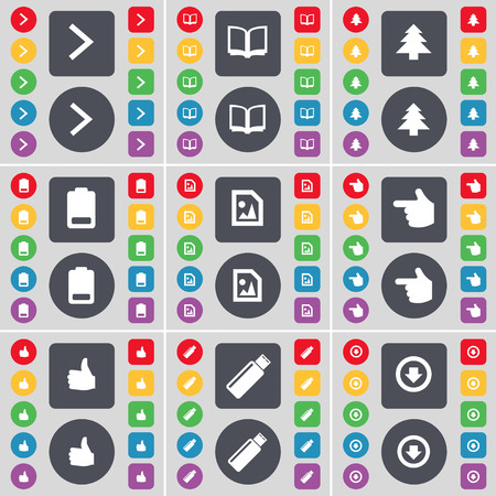 arrow down icon: Arrow right, Book, Firtree, Battery, Media file, Hand, Like, USB, Arrow down icon symbol. A large set of flat, colored buttons for your design. illustration