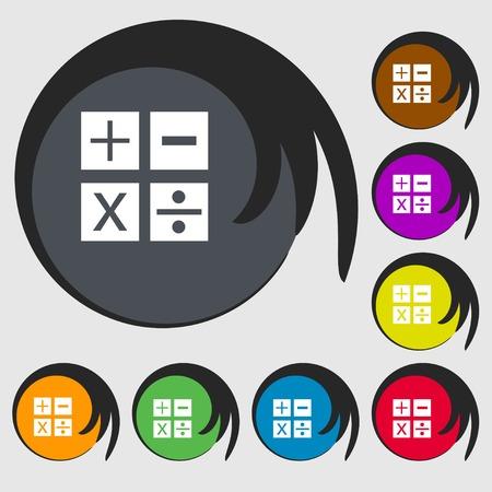 multiplicacion: Multiplicación, división, más, menos icon símbolo de matemáticas matemáticas. Símbolos en ocho botones de colores. ilustración