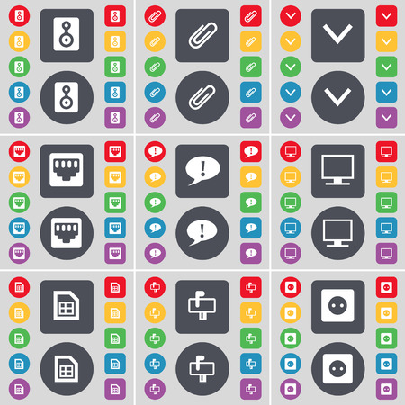lan: Speaker, Clip, Arrow down, LAN socket, Chat bubble, Monitor, File, Mailbox, Socket icon symbol. A large set of flat, colored buttons for your design. illustration