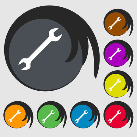 fitter: wrench icon sign. Symbol on eight colored buttons. illustration