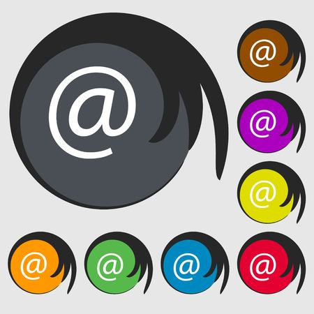 symbols commercial: commercial at. Set Flat modern. Symbols on eight colored buttons. illustration