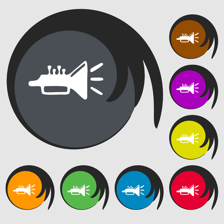 brass instrument: trumpet, brass instrument icon sign. Symbol on eight colored buttons. illustration Stock Photo
