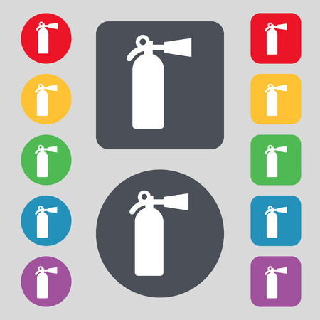 foam safe: fire extinguisher icon sign. A set of 12 colored buttons. Flat design. illustration Stock Photo