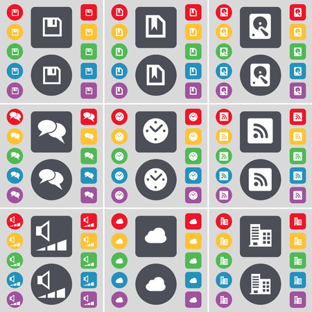 floppy drive: Floppy, File, Hard drive, Chat, Clock, RSS, Volume, Cloud, Building icon symbol. A large set of flat, colored buttons for your design. illustration
