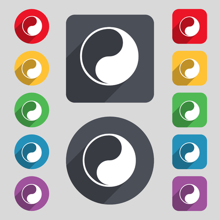 karma concept: Yin Yang icon sign. A set of 12 colored buttons and a long shadow. Flat design. illustration