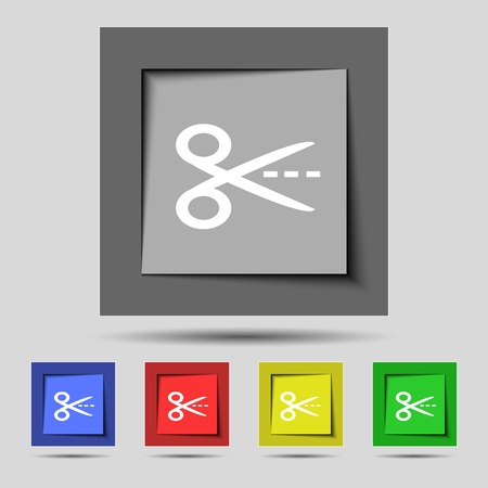 snip: Scissors with cut dash dotted line sign icon. Tailor symbol. Set of colored buttons. illustration Stock Photo