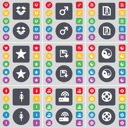 dropbox: Dropbox, Mars symbol, ZIP file, Star, Floppy, Yin-Yang, Silhouette, Router, Videotape icon symbol. A large set of flat, colored buttons for your design. illustration