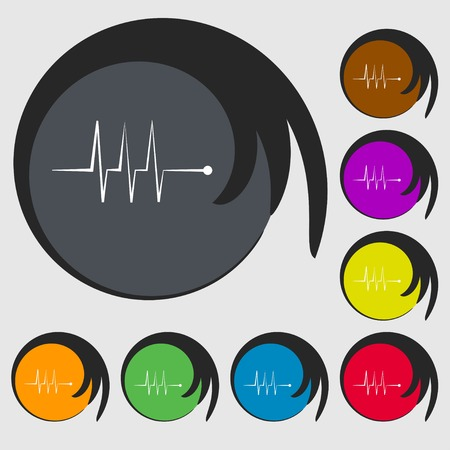 heart beats: Cardiogram monitoring sign icon. Heart beats symbol. Symbols on eight colored buttons. illustration Stock Photo