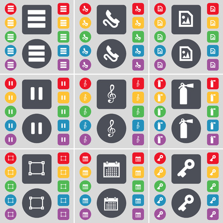 fire extinguisher symbol: Apps, Receiver, Media file, Pause, Clef, Fire extinguisher, Frame, Calendar, Key icon symbol. A large set of flat, colored buttons for your design. illustration
